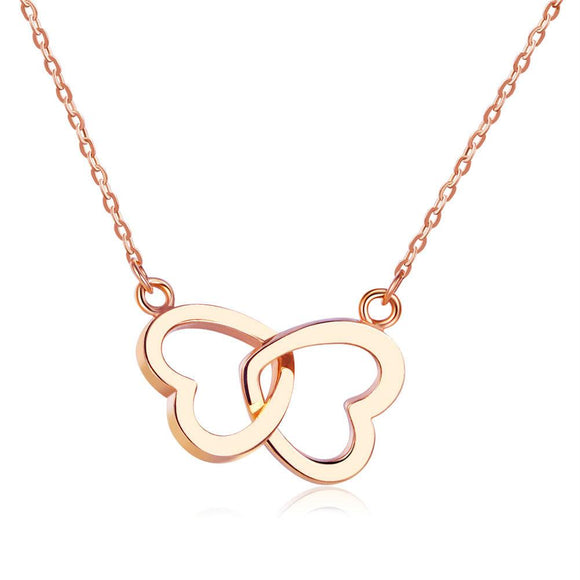 Solid 18K/750 Rose Gold Double Heart Necklace