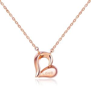 "Solid 18K/750 Rose Gold ""Love"" Heart Necklace"
