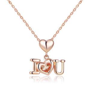 "Solid 18K/750 Rose Gold  Dangle ""I Love U"" Heart Necklace"