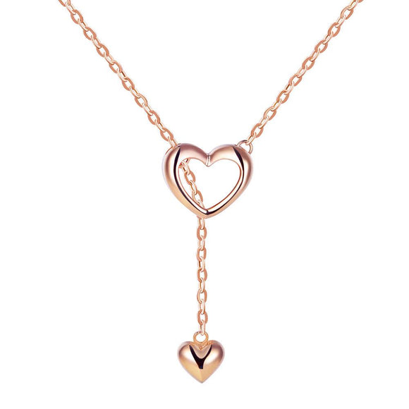 Solid 18K/750 Rose Gold Hearts Necklace