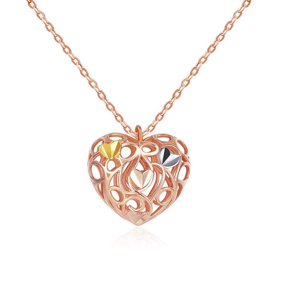 Solid 18K/750 Rose Gold 3D Openwork Heart Necklace