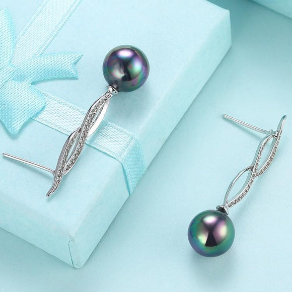 Micro Pav'e Simulated Dimaond Curved Inception Akoya Pearl Dangling Earrings Set in 18K White Gold