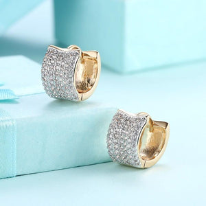 Swarovski Crystal Micro Pav'e Square Shaped Huggies Set in 18K Gold