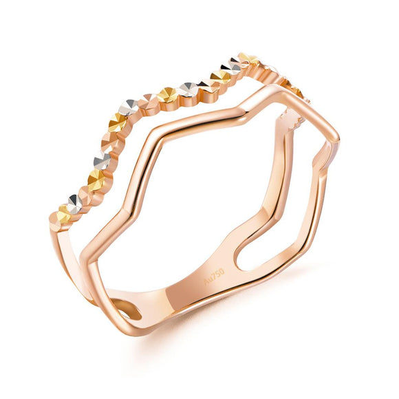 Solid 18K/750 Rose Gold Wave Band Ring