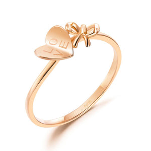 "Solid 18K/750 Rose Gold ""Love"" Ribbon Ring"