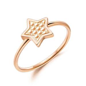 Solid 18K/750 Rose Gold Star Ring