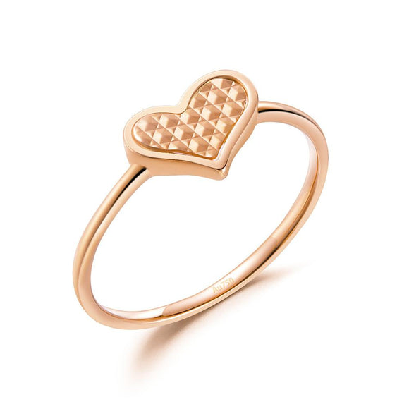 Solid 18K/750 Rose Gold Heart Ring