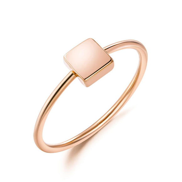 Solid 18K/750 Rose Gold Square Ring