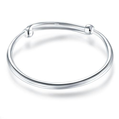 Solid 990 Silver Plain Bangle Bracelet Baby Kids Children Gift Adjustable Size
