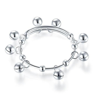 Solid 990 Silver Bells Bangle Bracelet Baby Kids Children Gift Adjustable Size