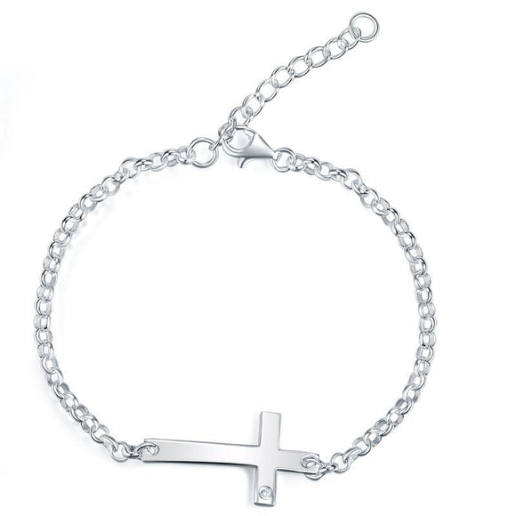 Kids Girl Gift Children Jewelry Solid 925 Sterling Silver Cross Bracelet