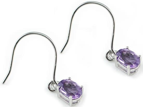 2 Carat Genuine Purple Amethyst 925 Sterling Silver Dangle Fine Earrings