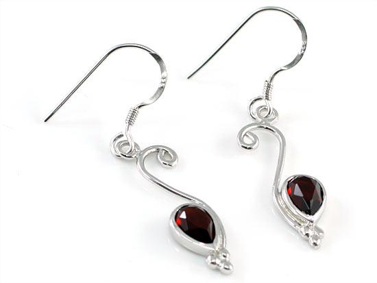 1.5 Carat Genuine Dark Red Garnet 925 Sterling Silver Dangle Fine Earrings