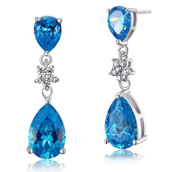 3.5 Carat Blue Pear Cut Created Topaz 925 Sterling Silver Dangle Earrings