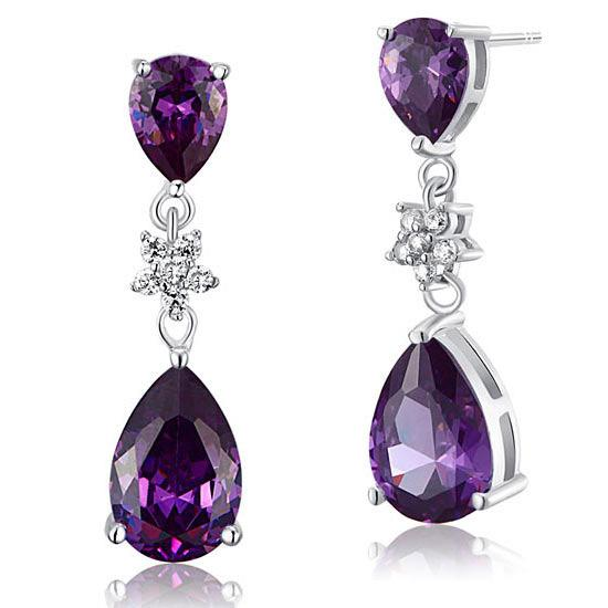 3.5 Carat Purple Pear Cut Created Sapphire 925 Sterling Silver Dangle Earrings