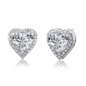 3 Carat Created Diamond 925 Sterling Silver Heart Stud Earrings