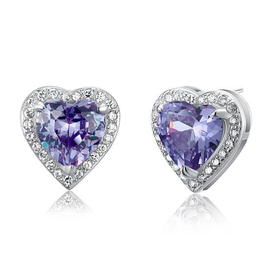 3 Carat Created Purple Sapphire 925 Sterling Silver Heart Stud Earrings