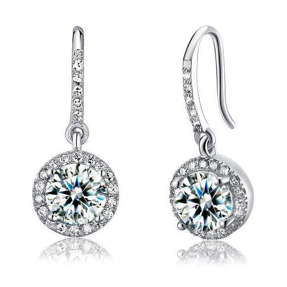 1.5 Carat Created Diamond 925 Sterling Silver Dangle Earrings