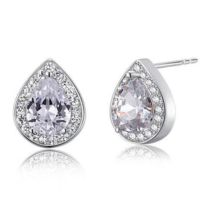 1 Carat Pear Cut Created Diamond 925 Sterling Silver Stud Earrings