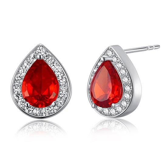1 Carat Pear Cut Red Created Ruby 925 Sterling Silver Stud Earrings
