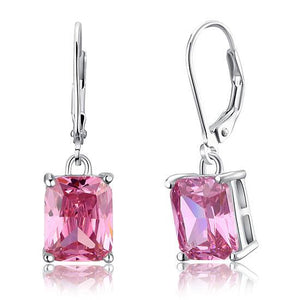4 Carat Pink Created Sapphire 925 Sterling Silver Dangle Earrings