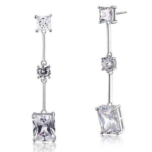 4 Carat Emerald Cut Created Diamond  925 Sterling Silver Dangle Earrings
