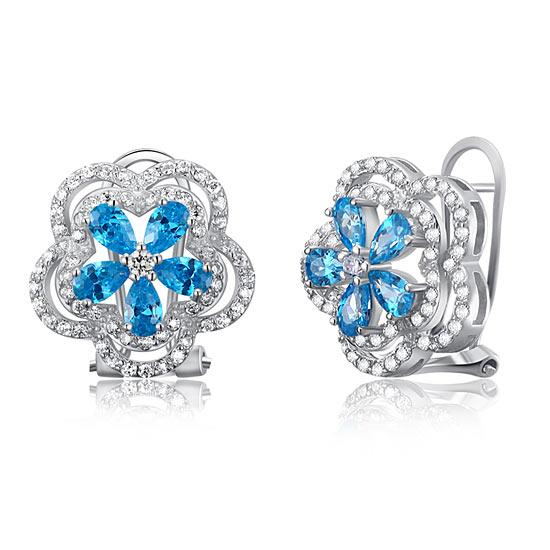 1.25 Carat Blue Solid 925 Sterling Silver Stud Earrings Jewelry