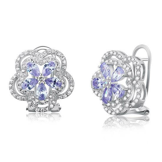 Light Purple Created Sapphire 925 Sterling Silver Stud Earrings Vintage