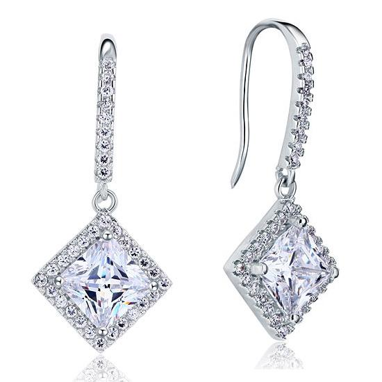 3 Carat Created Princess Cut Diamond Dangle Drop Sterling 925 Silver Earrings