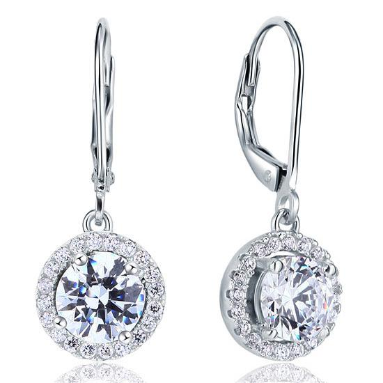 Created Diamond Dangle Drop Sterling 925 Silver Earrings