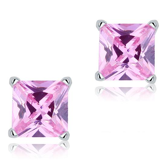 1 Carat Pink CZ Solid 925 Sterling Silver Stud Earrings Jewelry
