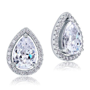 4 Carat Pear Cut CZ Stud 925 Sterling Silver Earrings Jewelry