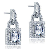 Created Diamond Dangle Drop Key Lock Sterling 925 Silver Earrings