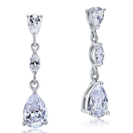 2 Carat Created Pear Cut Diamond Dangle Drop Sterling 925 Silver Earrings