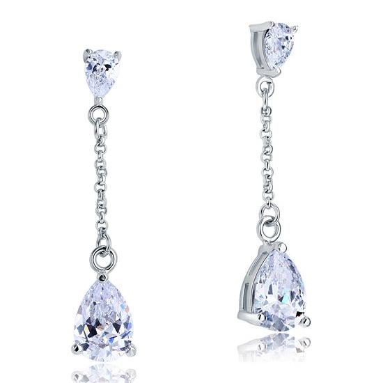 2 Carat Created Diamond Pear Cut Diamond Dangle Drop Sterling 925 Silver Earrings