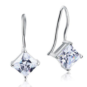 1.5 Carat Princess Cut Created Diamond Dangle Drop 925 Sterling Silver Earrings