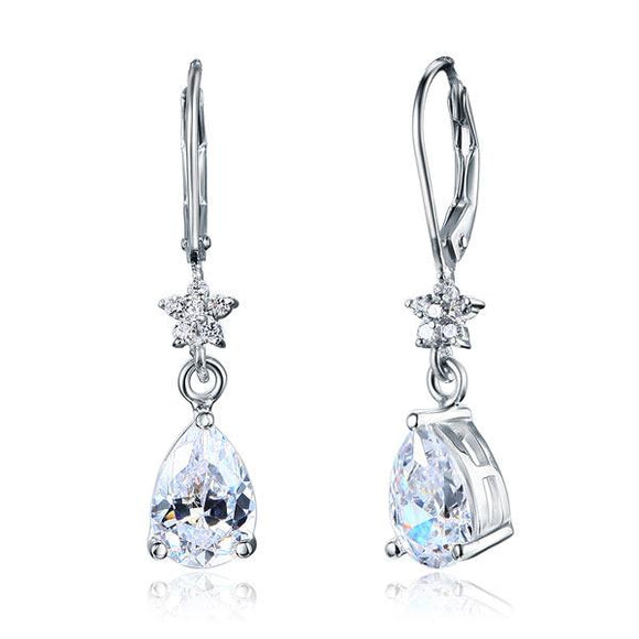 2 Carat 925 Sterling Silver Dangle Bridal Wedding Bridesmaid Earrings Jewelry