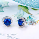 Navy Blue Created Sapphire Stud Earrings 925 Sterling Silver Jewelry