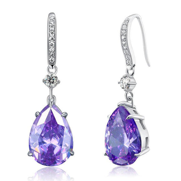 Purple Pear Created Sapphire 925 Sterling Silver Dangle Hook Earrings