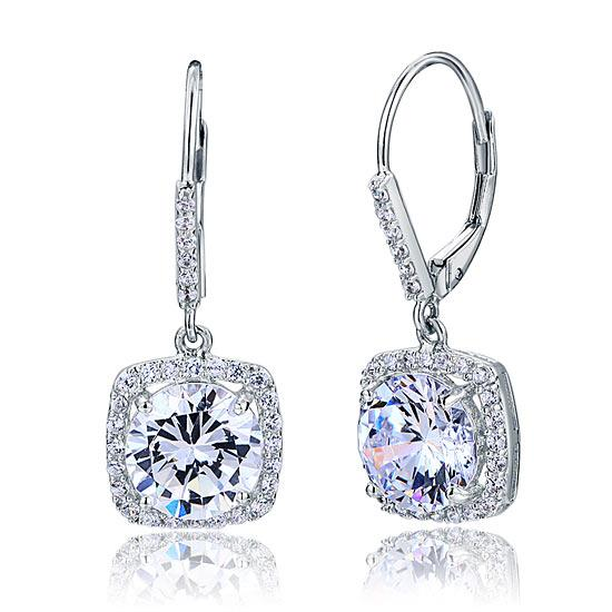 925 Sterling Silver Bridal Wedding Earrings Brilliant Created Diamond