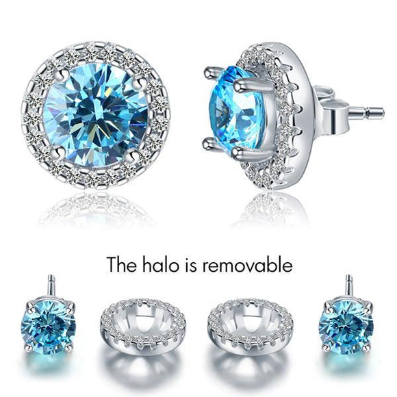 2.5 Carat Round Blue Halo (Removable) Stud 925 Sterling Silver Earrings Jewelry