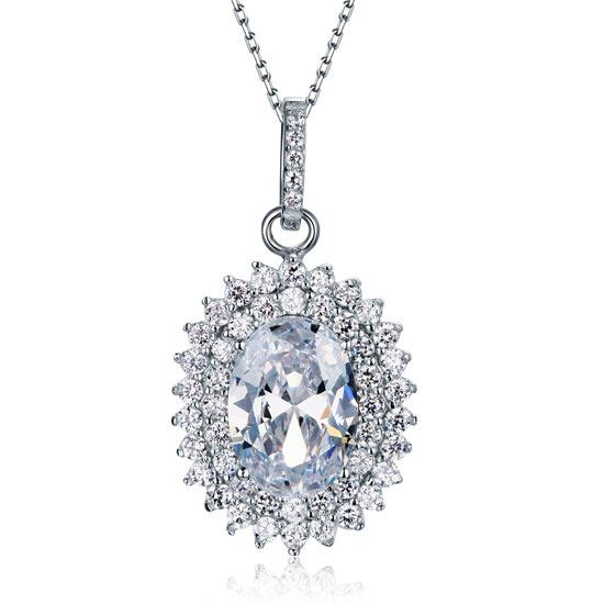 6 Carat Oval Cut Created Diamond Sterling 925 Silver Flower Pendant Necklace