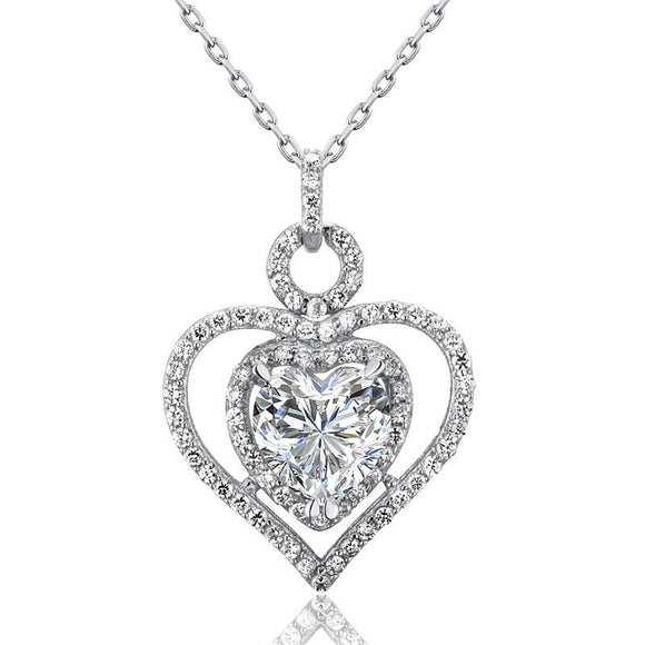 3 Carat Created Diamond 925 Sterling Silver Heart Pendant Necklace