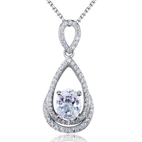 2 Carat Oval Cut Created Diamond Sterling 925 Silver Pendant Necklace