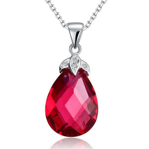 925 Sterling Solid Silver Tear Drop High Quality Fuchsia Crystal Pendant Necklace