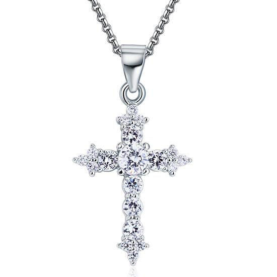 Round Cut Created  Diamond 925 Sterling Silver Cross Pendant Necklace