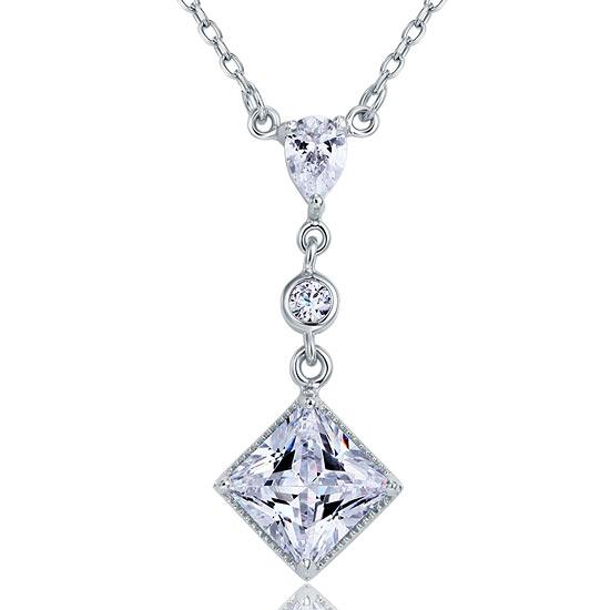 2 Carat Princess Cut Created Diamond Dangle 925 Sterling Silver Pendant Necklace