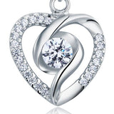 Created Diamond Heart 925 Sterling Silver Pendant Necklace