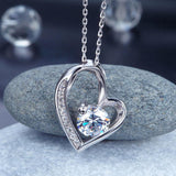 1 Carat Created Diamond Heart 925 Sterling Silver Pendant Necklace