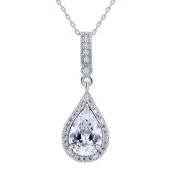 925 Sterling Silver Fashion Bridesmaid Pendant Necklace Bridal Wedding Tear Drop